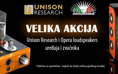 Velika akcija Unison Research i Opera Loudspeakers uređaja i zvučnika