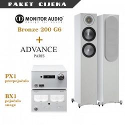 Advance Paris BX1 + PX1 + Monitor Audio Bronze 200