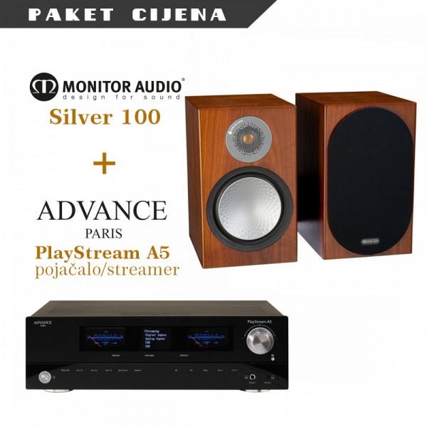 Advance Paris PlayStream A5 stereo pojačalo/streamer + Monitor Audio Silver 100 (par)